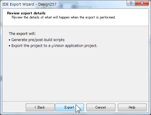 IDE Export Wizard の最終確認